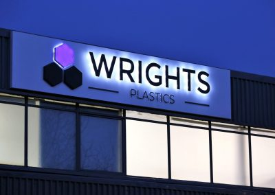 LED lluminated sign for Wrights Plastics HQ