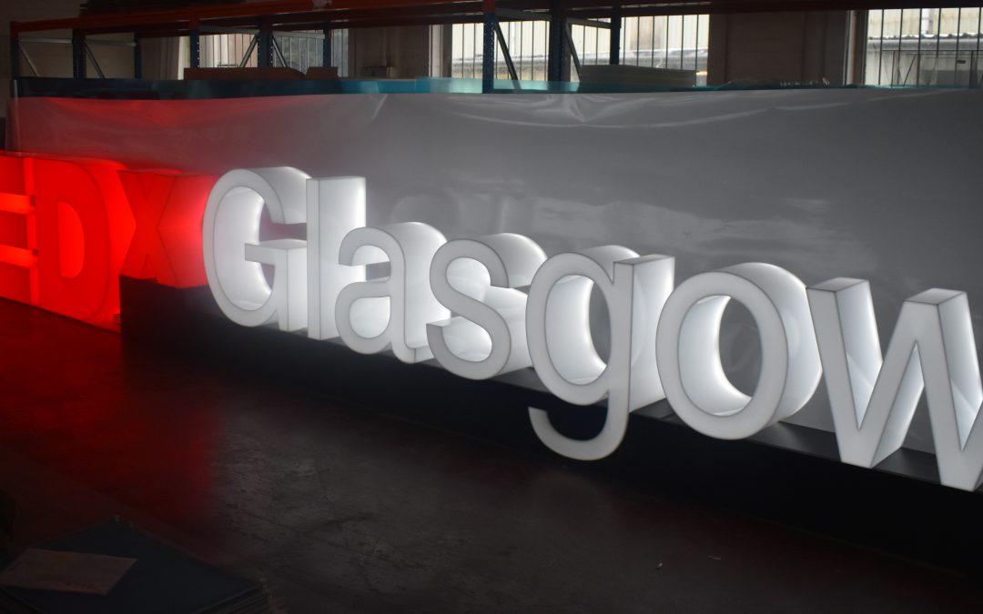 8m signage lights up TEDx Glasgow