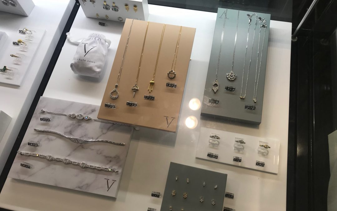 V for Very Stylish. Wrights Plastics create POS display for Laura Vann jewellery range.